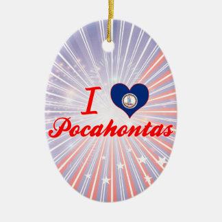 Amo Pocahontas, Virginia Adorno Navideño Ovalado De Cerámica