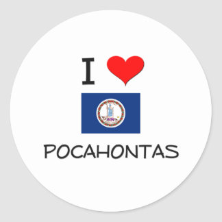Amo Pocahontas Virginia Pegatina Redonda