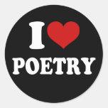 Amo poesía etiquetas redondas