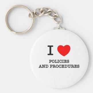 Amo políticas y procedimientos llavero redondo tipo pin