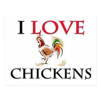 Amo pollos tarjeta postal
