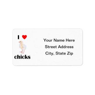 Amo polluelos etiqueta de dirección
