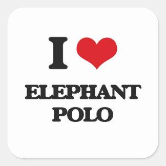 Amo polo del elefante pegatina cuadrada