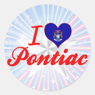 Amo Pontiac, Michigan Pegatinas Redondas