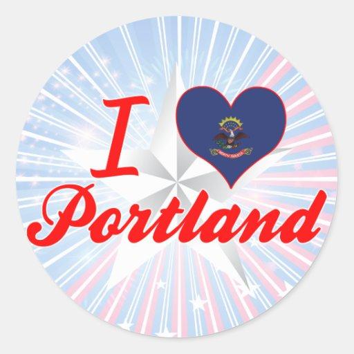 Amo Portland, Dakota del Norte Pegatina Redonda