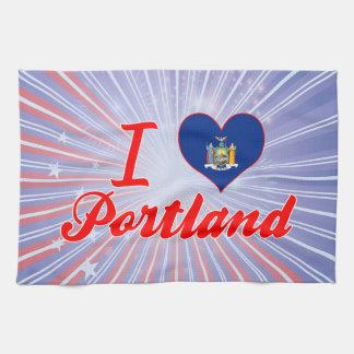 Amo Portland, Nueva York Toalla De Cocina