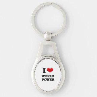 Amo potencia mundial llavero plateado ovalado