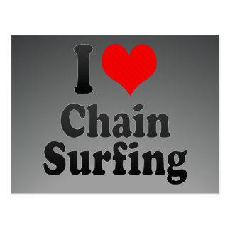 Amo practicar surf de cadena tarjetas postales