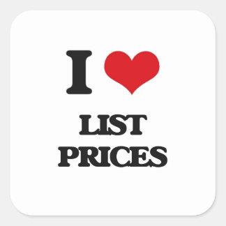 Amo precios de catálogo pegatina cuadrada