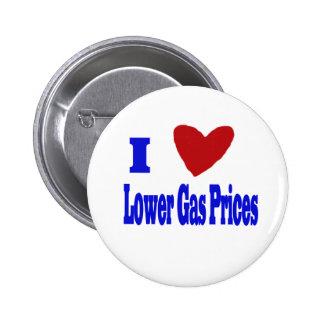 amo precios de la gasolina más bajos pin redondo de 2 pulgadas