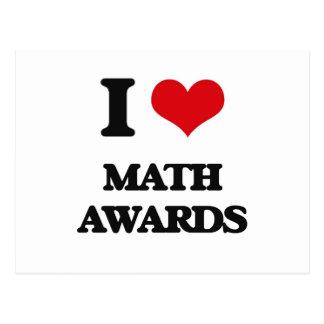 Amo premios de la matemáticas tarjetas postales