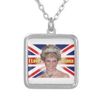 """""""Amo princesa Diana de HRH de Diana"""" Colgante Cuadrado"""