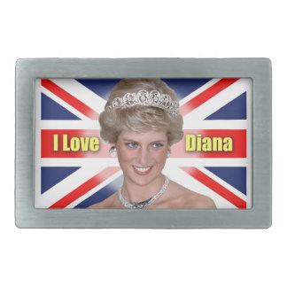 """Amo princesa Diana de HRH de Diana"" Hebillas De Cinturon Rectangulares"