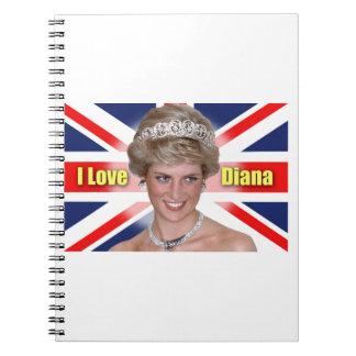 """""""Amo princesa Diana de HRH de Diana"""" Libro De Apuntes Con Espiral"""