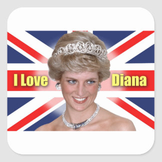 """""""Amo princesa Diana de HRH de Diana"""" Colcomanias Cuadradases"""