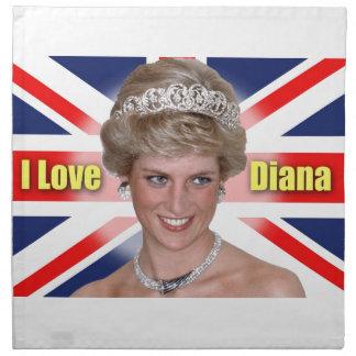 """Amo princesa Diana de HRH de Diana"" Servilleta Imprimida"
