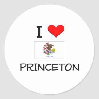 Amo PRINCETON Illinois Pegatina Redonda