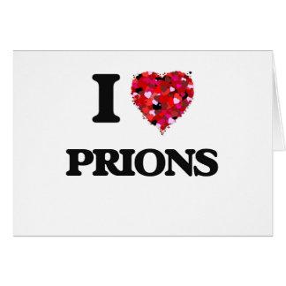 Amo priones tarjeta de felicitación