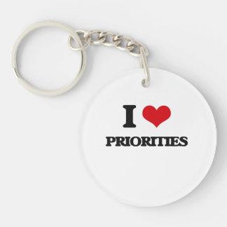 Amo prioridades llavero redondo acrílico a una cara