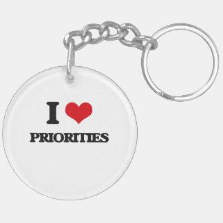 Amo prioridades llavero redondo acrílico a doble cara