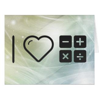 Amo problemas matemáticos tarjeta de felicitación grande