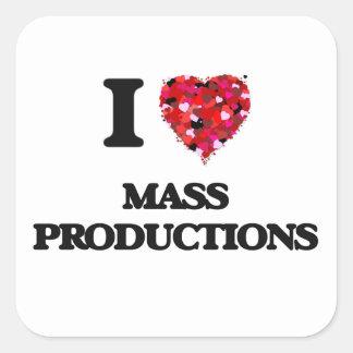 Amo producciones en masa pegatina cuadrada