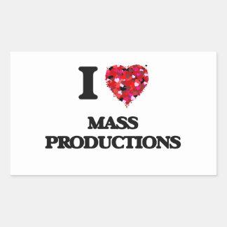 Amo producciones en masa pegatina rectangular