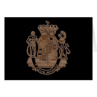 Amo productos heráldicos del escudo del tocino tarjeta de felicitación