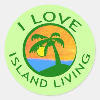 Amo productos vivos de la isla pegatinas