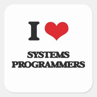 Amo programadores pegatina cuadrada