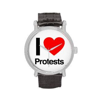 amo protestas relojes de pulsera