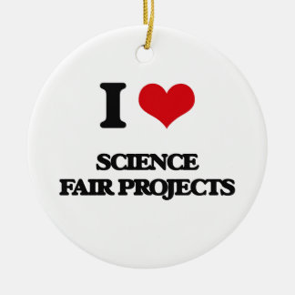 Amo proyectos de la feria de ciencia adorno navideño redondo de cerámica