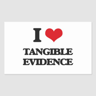 Amo pruebas tangibles pegatina rectangular
