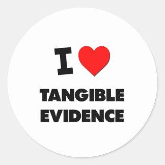 Amo pruebas tangibles pegatina redonda