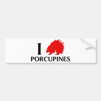 Amo puercos espines etiqueta de parachoque
