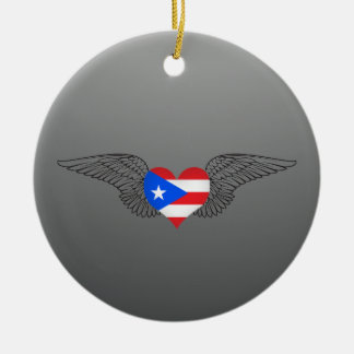 Amo Puerto Rico - alas Adorno Redondo De Cerámica