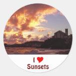 Amo puestas del sol pegatinas redondas