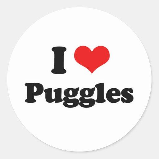 Amo Puggles Pegatina Redonda