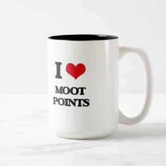 Amo puntos discutibles taza de café de dos colores