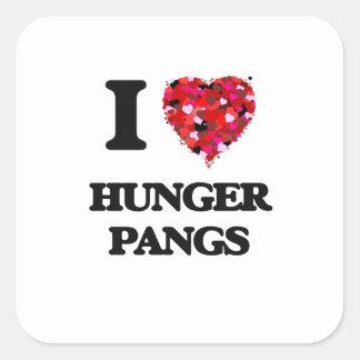 Amo punzadas del hambre pegatina cuadrada