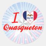 Amo Quasqueton, Iowa Etiqueta Redonda