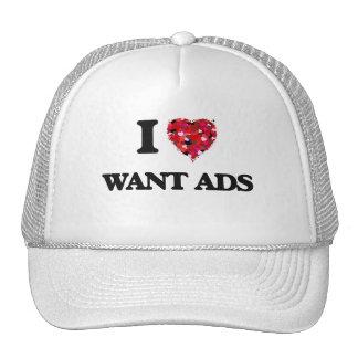 Amo quiero anuncios gorros bordados