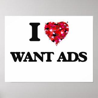 Amo quiero anuncios póster