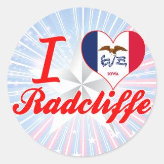 Amo Radcliffe, Iowa Pegatina Redonda