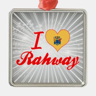 Amo Rahway, New Jersey Adorno Cuadrado Plateado