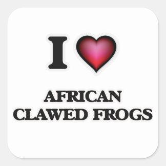 Amo ranas agarradas africano pegatina cuadrada