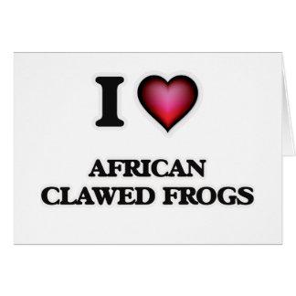 Amo ranas agarradas africano tarjeta de felicitación