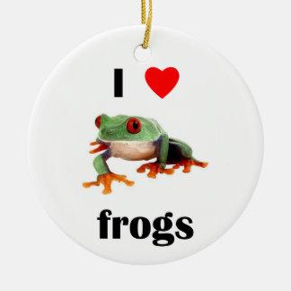 Amo ranas ornamento para arbol de navidad
