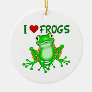 Amo ranas del corazón ornamentos de reyes