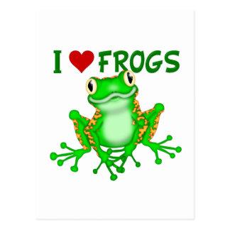 Amo ranas (del corazón) tarjetas postales